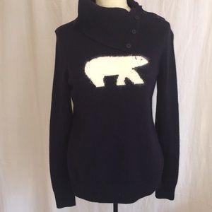 Talbots polar bear sweater navy & white Sz Small